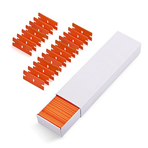 "EHDIS 100 PCS Plastic Razor Blades Double Edges for 1.5"" Plastic Scraper Tool, Wipe off Label Glue Residue on Soft Surface No Scratched-Orange"