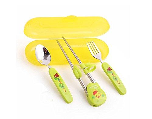 Vaisselle de trois pièces enfants Cuillère Fourchette baguettes (Vert)
