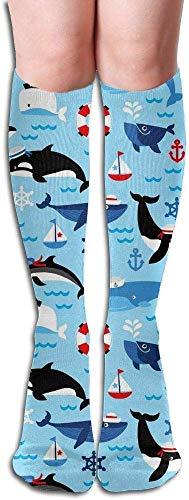 xinfub Lange Socken Elefanten-Kompressionsstrümpfe für Damen und Herren, modisch, über das Knie hoch, bequem, 7418