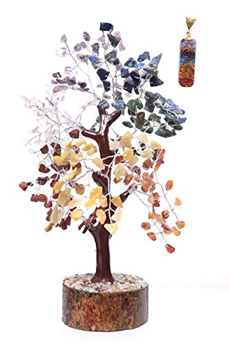 KACHVI Crystal Tree Crystals and Healing Stones Bonsai Trees Feng Shui Handmade Seven Chakra Crystal Trees Chakra Tree for Crystal Gifts Money Good Luck Pendant Gift Silver Wire 300 Beads 10-12 inch
