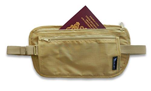 Travelwey Money Belt Travel Waist Bag (Beige / Extra Long) (Max Waist Size 55 inches)