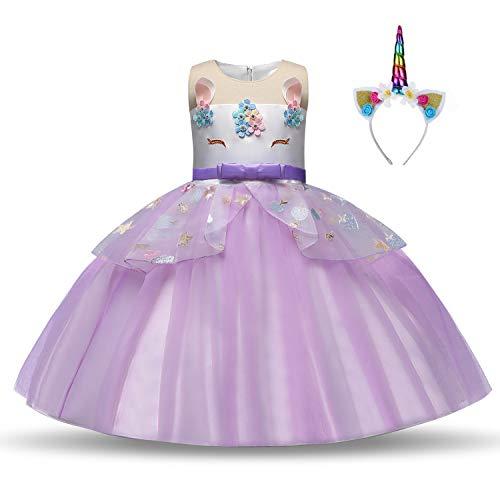 Mädchen Einhorn Kostüm Prinzessin Kleid Up Einhorn Kostüm Party Outfit Blume Tutu Rock mit Stirnband Gr. 5-6 Jahre/Etikettgröße -130, Hellviolett