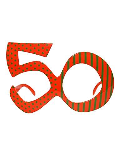 PartyDeco-Brille in Form der Zahl 50, Orange, OKR9-50