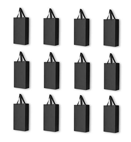 CUGBO 12 Pack 2 Bottles Wine Carrier Tote Holders, Black Paper Wine Champagne Gift Bottle Carrying Bags with Handles for Christmas Business Wedding Baby Shower