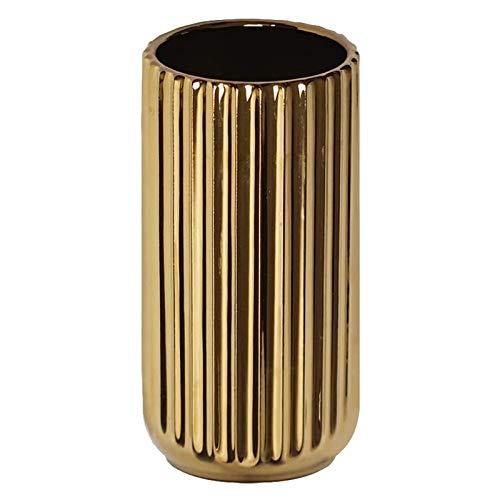 Neubula - Jarrón de cerámica dorado para flores decorativo, porcelana nórdica, moderno, para oficina, casa, decoración de bodas, decoración de fiestas y arreglos florales, 18 cm