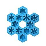 Snowflake Ice Tray Silicone Mold 12 Tray Creative Gadget, Snowflake Silicone Mold Decoration Blue Snowflake Shape Ice Cube Tray Snowflake