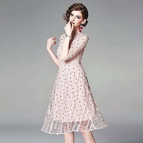 QUNLIANYI Abendkleid Abiballkleid Pink Dress Dot Printing Mesh Lace Dresses Frauen Kurz Vor Elegant...
