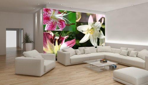 Delester Design Décor mural Papier peint - Fleurs de lys roses et blanches