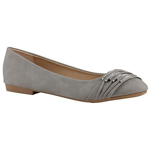 stiefelparadies Damen Ballerinas Leder-Optik Flats Slippers Übergrößen Ballerina Slip-Ons Nieten Schleifen Freizeit Schuhe 141363 Hellgrau 37 Flandell