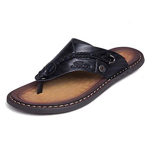 ZAJE Herren Hausschuhe weich bequem Mikrofaser Leder Hausschuhe Strandschuhe Flip-Flops Sommer Herren Schuhe, Schwarz - Schwarz - Größe: 39 EU