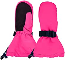 JAN & JUL Toddler Mittens Girl, Lined Waterproof Winter Gloves (S: 2-4T, Snow Mitten: Hot Pink)