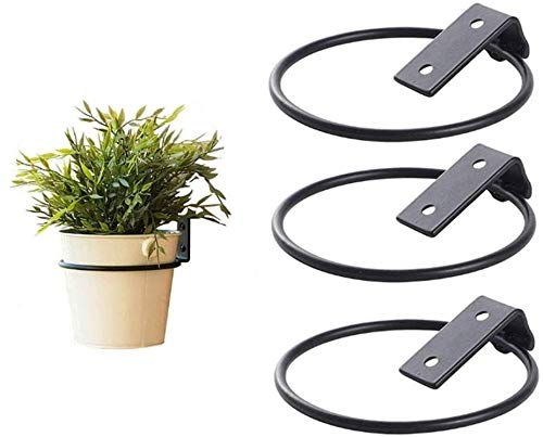 4.1 Inch Wall Planter Hook Hanger - Hanging Plant Bracket for Indoors & Outdoors Use - Flower Pot Wall Mounted Plant Hangers, Collapsible Bracket, Iron Black [Set of 3]