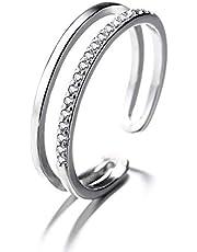 TAMA 2連 指輪 レディース リング 純銀シルバー925 ロジウムコーティング ジルコニア CZダイヤモンド アクセサリー かわいい 二連 サイズフリー 調整可能(9号~18号)