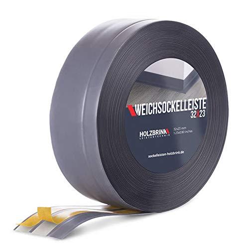 HOLZBRINK Weichsockelleiste selbstklebend DUNKELGRAU Knickleiste, 32x23mm, 5 Meter