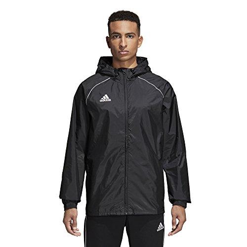 adidas Men's Core 18 Rain Soccer Jacket, Black/White, Large
