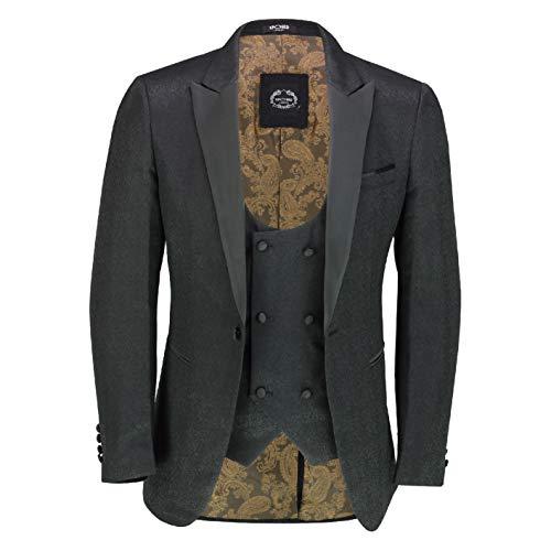 Xposed Herren Smoking Anzug im Retro-Stil, Bedruckt, Schwarz Gr. 58, Blazer-Waiscoat-schwarz