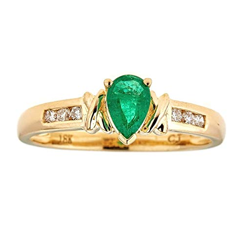 Gin & Grace 18 quilates de oro amarillo de pera natural talla esmeralda con diamante natural (I1, I2) Proponer la promesa de compromiso anillo para las mujeres