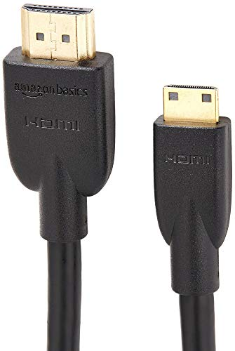 AmazonBasics - Cable adaptador Mini HDMI a HDMI (estándar 2.0, vídeo 4K a 60 Hz, 2160p y 48 bit/px, compatible con Ethernet, 3D y ARC, 1,8 m)
