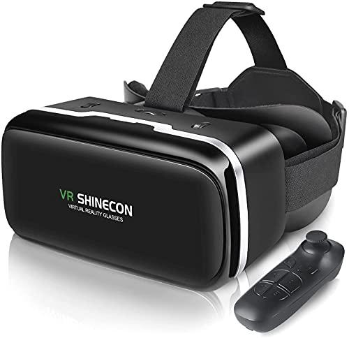 VR Brille Handy Virtual Reality mit Fernbedienung, VR SHINECON 3D VR-Brille Erleben Sie Spiele und 360 Grad Filme in 3D mit weicher & komfortabler VR Brille Glasses für iPhone Android 4.7-6.5 Zoll
