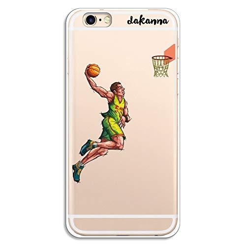 dakanna Custodia per iPhone 6-6S   Giocatore di Pallacanestro   Cover in Gel di Silicone TPU Morbido di Alta qualità con Sfondo Trasparente