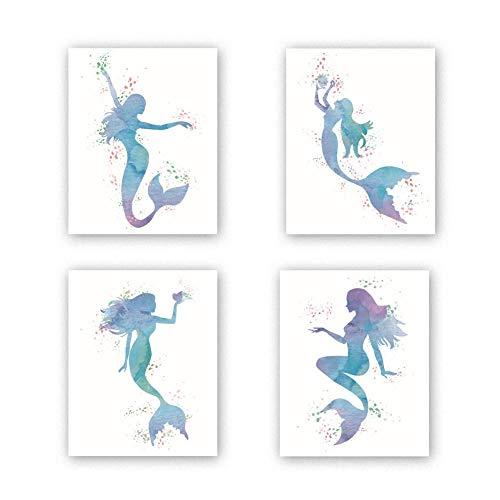 KARTME 4er Set Kinderzimmer Poster für Ozean | Babyzimmer Bilder Set | Meerjungfrauen Wandbilder | Kinderposter für Mädchen | Aquarell Tier Malerei für Schlafzimmer Dekor | Wohnkultur Kunst Geschenk