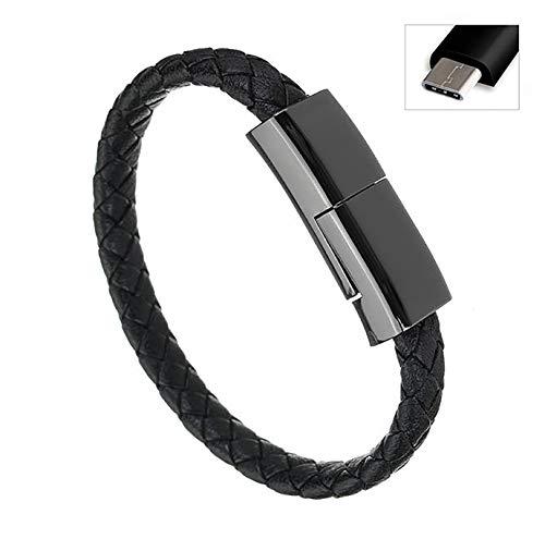 STEALTH USB draagbare armbandoplader - Type-C USB-kabel - Gevlochten leer Snel opladen Noodgevallen Smart Fashion armbanden Koord voor Samsung (vanaf S8) Mobiele telefoons (Type-C - Zwart 22 cm)