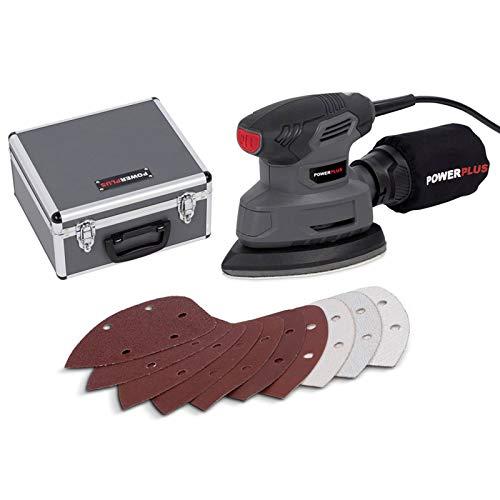 Powerplus poweset5140W Schleifmaschine Deltaschleifer Schleifplatte, manuell, schwarz, grau, Staubbeutel, Klettverschluss, Dreieck)