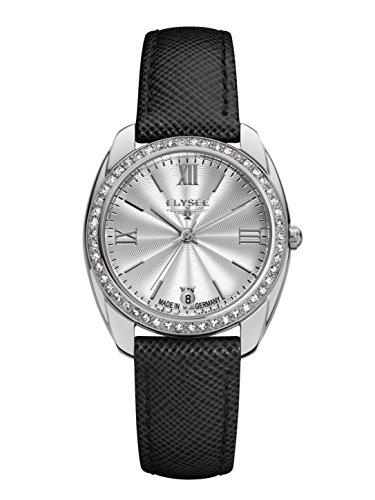 Elysee Damen Armbanduhr Diana Quarz Datumsanzeige mit hochwertigem Lederarmband