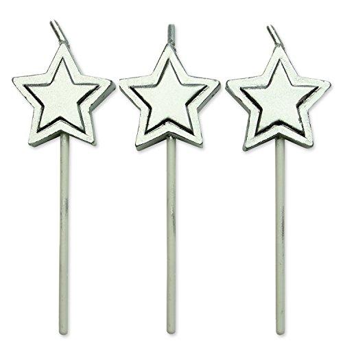PME CA016 Kerzen mit silbernen Sternen, Sortiment, 8-teilig, Kunststoff, Silver, 2.2 x 0.5 x 7 cm