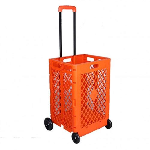 LYLSXY Trolleys, Tragbare Kunststoff-Einkaufswagen-Faltgepäckwagen Haushalts- Und Autogepäckwagen Einkaufen...