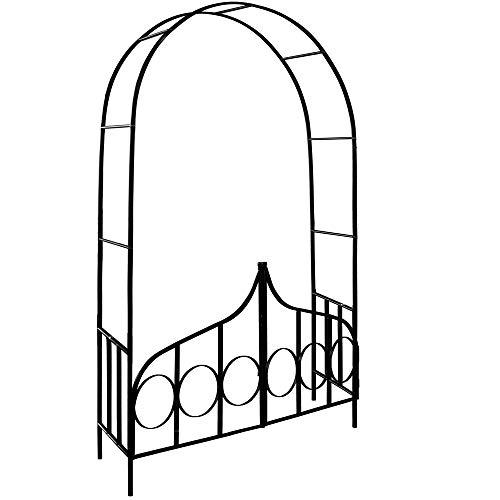 Deuba Rosenbogen mit Tor | Rankhilfe 240 x 140 x 40cm | Tür verriegelbar | Torbogen aus Metall | Rosenhilfe Rosentor Rankgitter