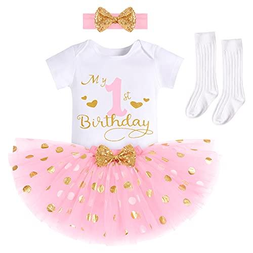 Bebé Niñas 1/2/1er/2do/3er Cumpleaños Trajes Mameluco+Falda Tutú de Tul de Lunares+Calcetines+Diadema 4 Piezas Formal Princesa Pastel Smash Fiesta Vestido de Bautismo Rosa-One 1 Años