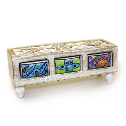 Gall&Zick Cómoda mini armario de madera con cajón de cerámica, decoración multicolor