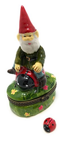 Porcelain Garden Gnome Fairy Riding Ladybug Hinged Lid Trinket Box, By ArtGifts, 2.5'L