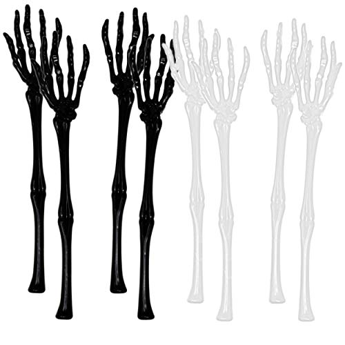 Set of 8 Skeleton Hands Salad Tongs Halloween Kitchen Tableware Utensils Assorted White and Black Server Spoons 13 Inch by Gift Boutique