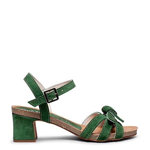 Zapatos miMaO. Zapatos Piel Mujer Hechos EN ESPAÑA. Sandalia Bio Tacón. Sandalia Lazo Decorativo. Plantilla Ultra Confort Bio