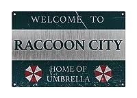 メタルティンサイン パーソナライズヴィンテージレジデント Welcome to Raccoon City, Home of Umberella サイン、スタイルメタルアルミニウムサイン 壁の装飾用 8x12インチ