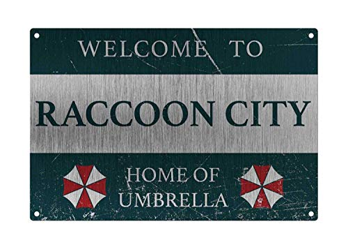 Metal Tin Sign Personalized Vintage Resident Welcome to Raccoon City, Home of Umberella Sign, Style Metal Aluminum Sign for Wall Decor 8x12 Inch