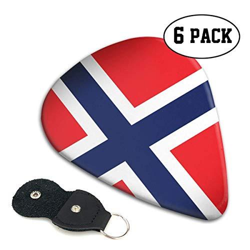 Noorwegen Vlag Distressed 351 vorm klassieke Celluloid Gitaar Picks voor uw elektrische, akoestische, Mandoline, Bas en Ukulele Gitaar .71mm 6-Pack