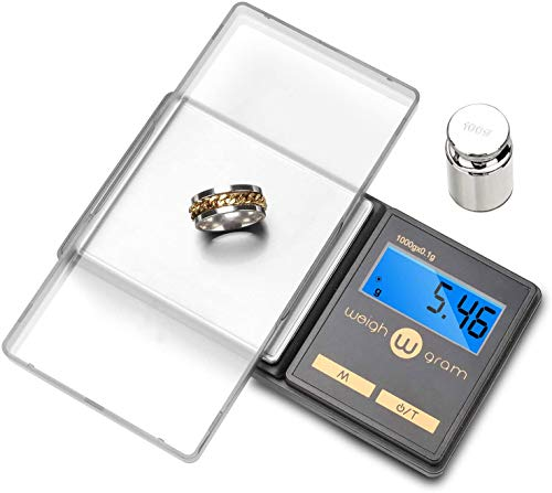 Gram Scale 200g/ 0.01g, Mini Pocket Scale for Jewelry Digital Food Kitchen Scale with Tare and 100g Calibration Weight Scale Electronic Smart Scale, 6 Units, LCD Backlit Display, Tare, Auto Off