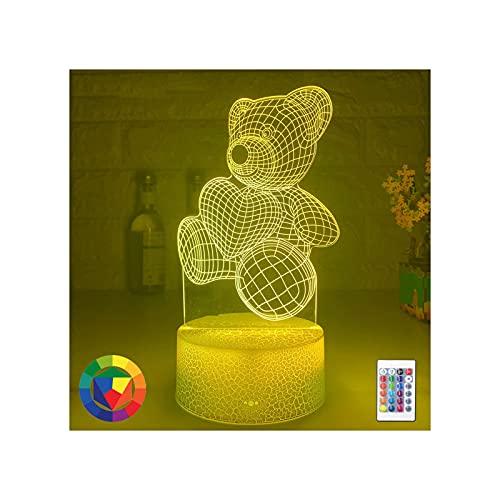 Lámpara de dibujos animados Lámpara para niños, Ilusión 3D Luz de noche para bebé Oso con corazón Luz de interruptor táctil LED Regalo con luz de ilusión acrílica