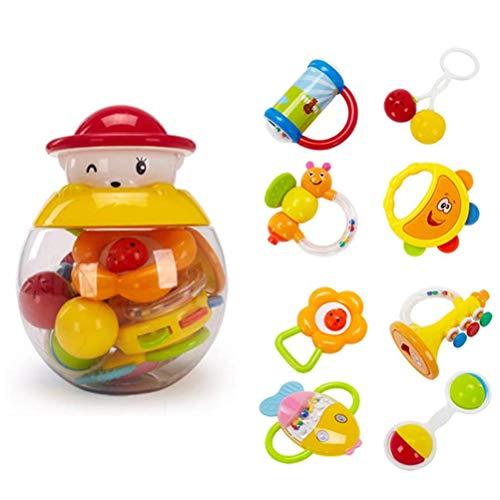 KiMiLIKE 8 Stück/Set Zufällig Farbe Baby Rassel Beißring Rasseln Spielzeug Früh Pädagogisch Spielzeug Geschenk für Neugeborenes Kleinkind Baby Kind
