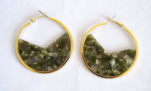 Boucles d'oreilles créoles dorées de 5 cm avec ornement carey. Livraison GRATUITE 72h (Vert)