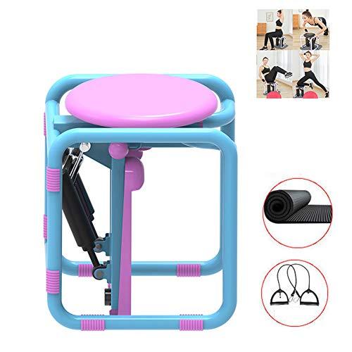 Thole Fitness Hocker Stepper Home Multifunktions Mini Hydraulik Stummschaltpedalmaschine mit Zugseil Super Sound Off Fitnessgerät,Pink