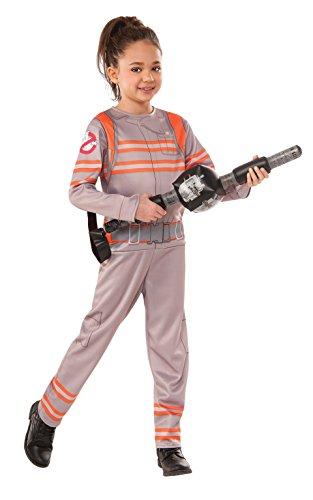 Rubie's Offizielles Ghostbusters Mädchen-Kostüm, Overall mit aufblasbarem Protonen-Stab–Design: 2016–Kinder-Größe: L