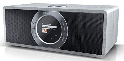 SHARP DR-I470 (GR) Stereo Internetradio/DAB, DAB+ Digitalradio, WiFi-Streaming, Bluetooth, DLNA, Farbdisplay, FM Radio, Alarm-/Schlaf und Snooze-Funktion, 30 Watt, grau