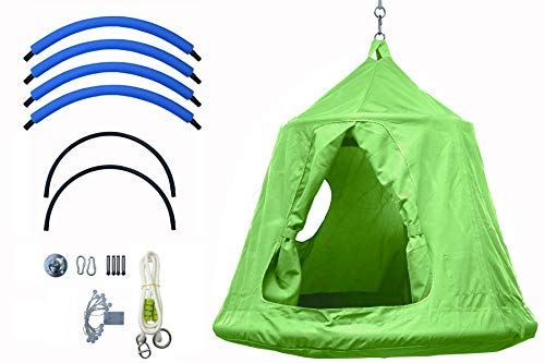 Outdoor Waterproof Backyard Play Center Hanging Tree House & Camping Hammock Tent Indoor bedroom Swing Chair with Lamp string for Accommodating 2 Children - Green