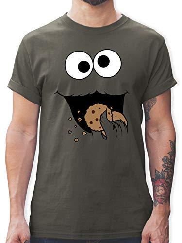 Karneval & Fasching - Keks-Monster - XXL - Dunkelgrau - Schlafshirt Herren - L190 - Tshirt Herren und Männer T-Shirts