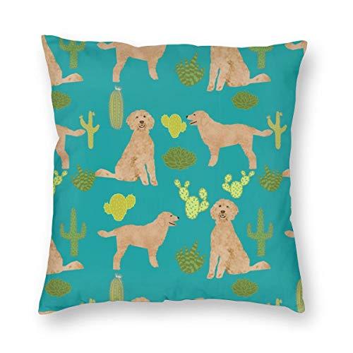 Doodle Dog Cactus - Funda de cojín con diseño de cactus para perro, tela dorada, tela de tela para perro, color turquesa 7651, terciopelo suave, decorativa, cuadrada, funda de almohada para salón, sofá o dormitorio con cremallera invisible, 50,8 x 50,8 cm