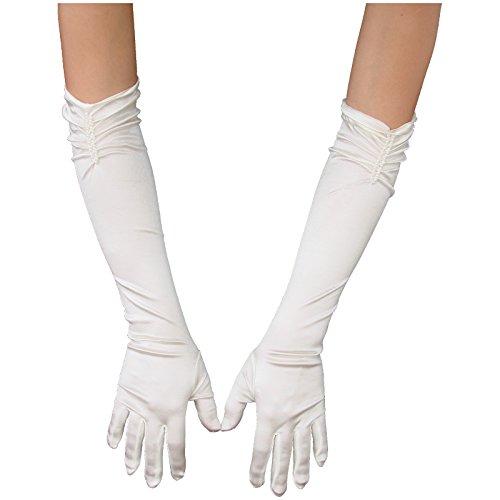 Unbekannt Brauthandschuhe mit Perlen extralang Satin elfenbein Handschuhe Hochzeit Handschuh Braut